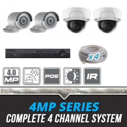 Complete 4 Channel 4MP Bullet & Dome IP Surveillance System
